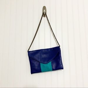 J. Crew Turquoise Leather Chain Link Shoulder Bag